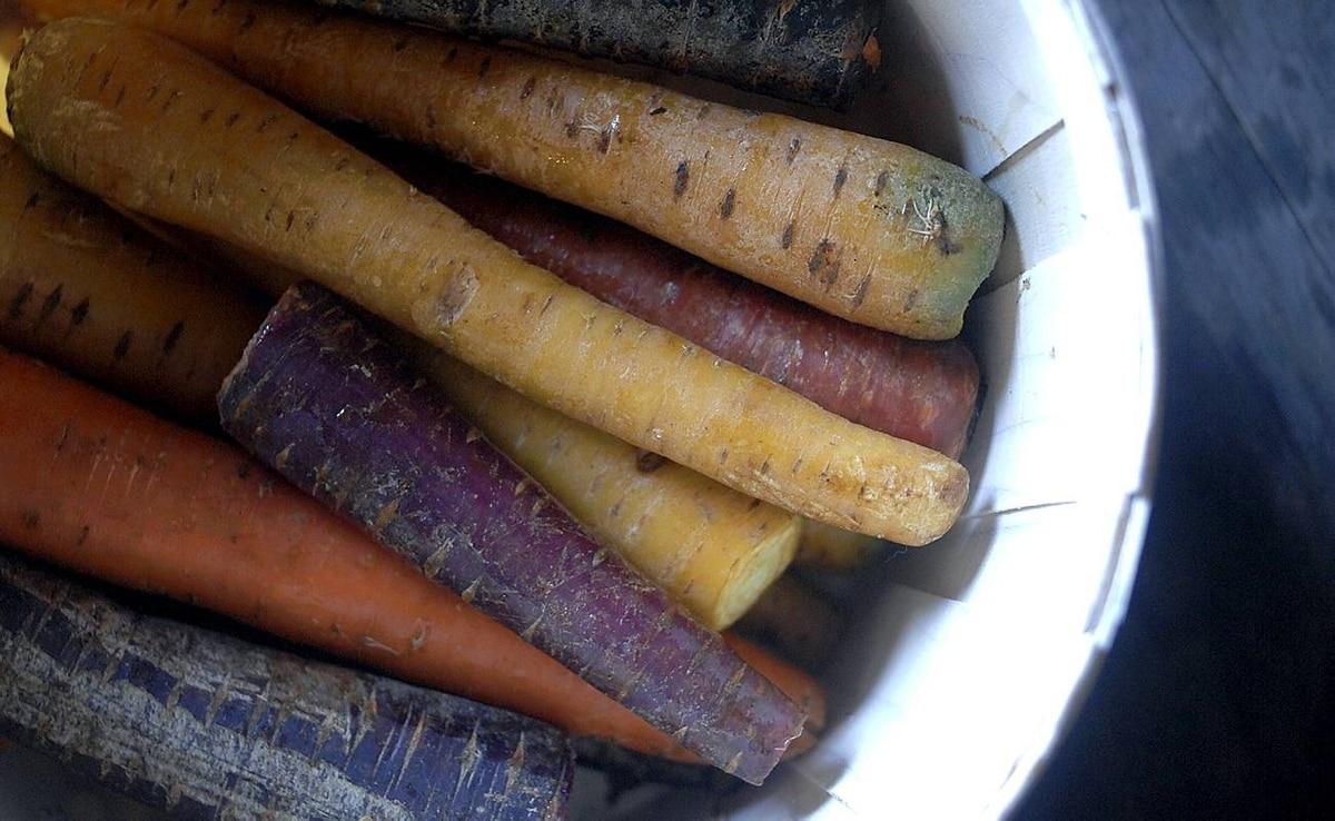 Heirloom carrots from Carron Farms in Bradford.