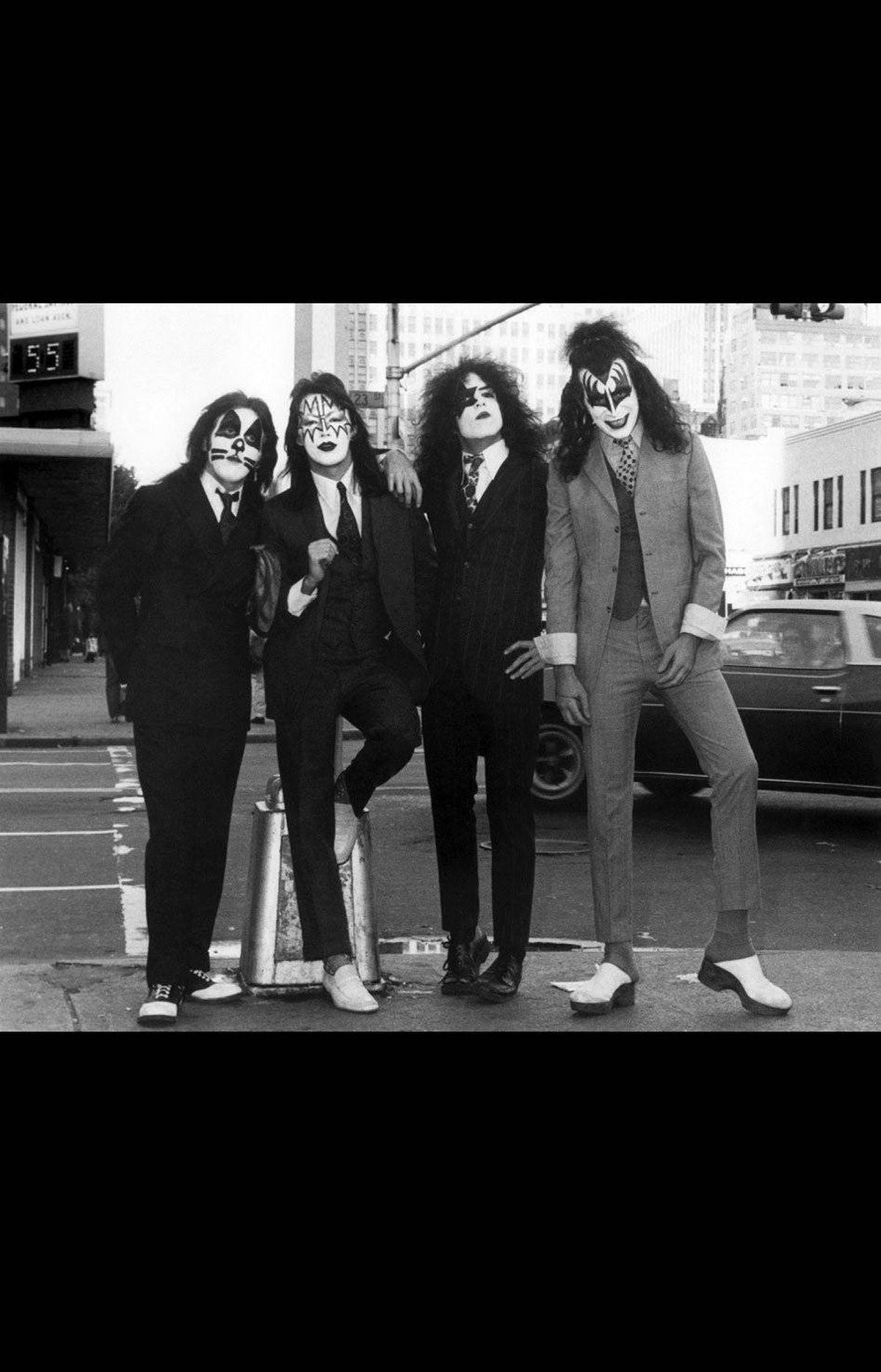 KISS – Dressed to Kill (1974) We were working on a photo novella for Queen magazine [now Harper's Bazaar UK]. The story was about KISS in their secret identities going to work in the morning. You can see that they're wearing suits, so no one would recognize that they were KISS. Nobody knew who they were, it was still early days, and KISS wasn't well known at all, even in New York. You have to be more than weird to get attention here. People kind of glanced at them, they may have thought it was a little early for Halloween. It takes a lot to shock a New Yorker.