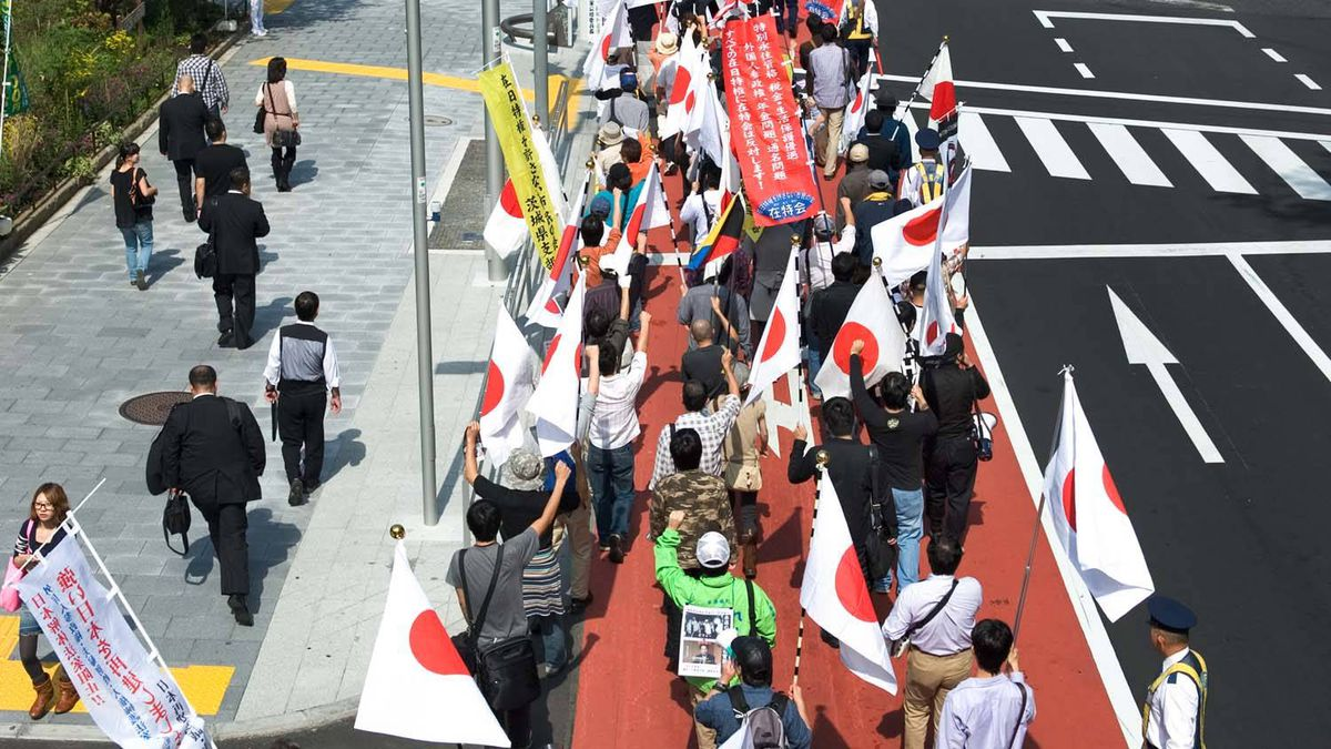 Japanese right-wing demonstration in central Tokyo on October 3, 2010.