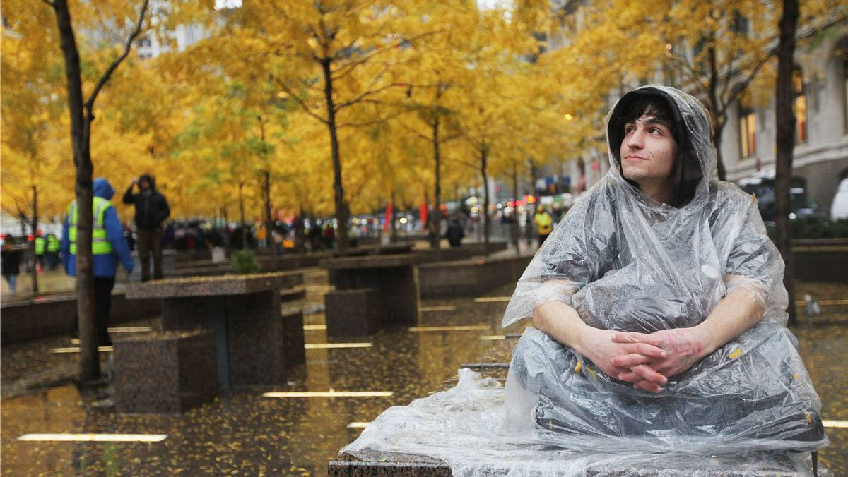 Protester Jorden Eck sits in Zuccotti Park a day after it was cleared of Occupy Wall Street protesters in an early morning police raid on November 16, 2011 in New York city.