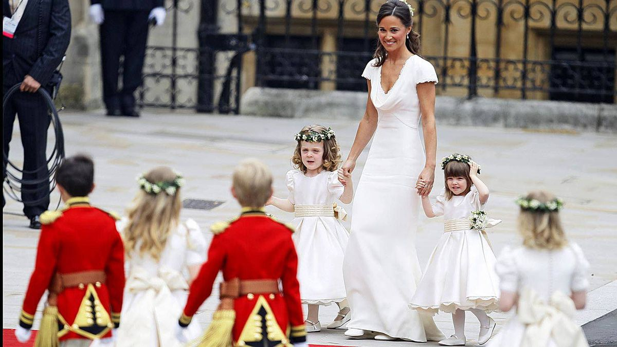 Maid of honour Pippa Middleton arrives with ring bearers Westminster Abbey at the Royal Wedding in London Friday, April 29, 2011.