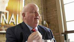 Former broadcaster and Tory Senator Mike Duffy gives an interview in Toronto in January of 2007