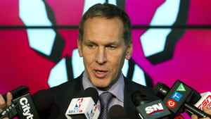 Toronto Raptors GM Bryan Colangelo answers questions during team media day in Toronto on Monday December 12, 2011.