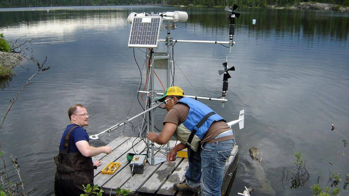 Scientists set up a micro-meterological station on a raft in this undated photo from the Experimental Lakes Area research station in Northwestern Ontario.