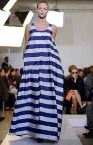 Runway Jil Sander's take on the striped maxi dress.