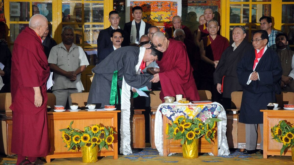 The change is also a reminder of the mortality of Tibetan's spiritual leader the Dalai Lama (centre right). The 76-year-old has to prepare for chaotic days of his next reincarnation.
