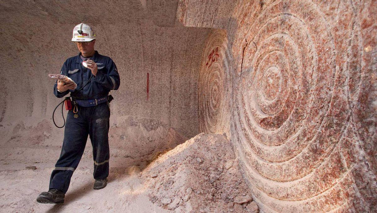 Rocanville Potash Corp underground production supervisor Dave Esslinger displays a sample of potash 1000 metres (3280 feet) below surface at the potash mine in Saskatchewan in this September 30, 2010 file photo.