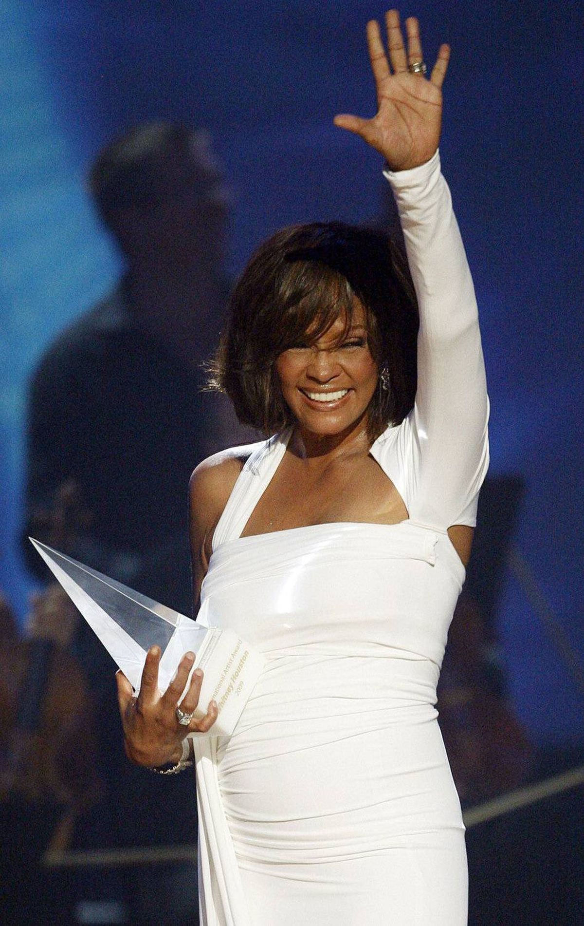 Singer Whitney Houston accepts the International Artist of the Year Award at the 2009 American Music Awards in November, 2009, the year of her successful comeback album I Look to You.