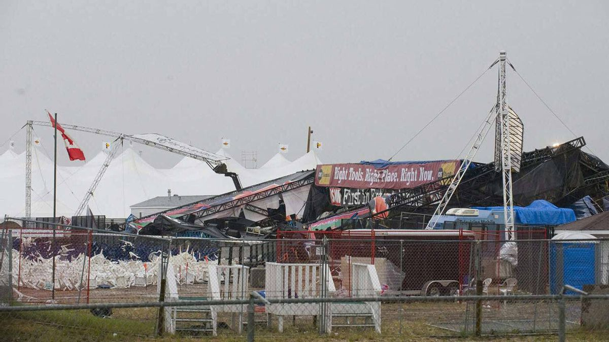 The collapsed main stage at the site of the Big Valley Jamboree in Camrose, Alta. is shown after a storm on August 1, 2009. Almost three dozen charges have been laid after a stage collapse that killed a woman at a country music festival in Alberta two years ago.