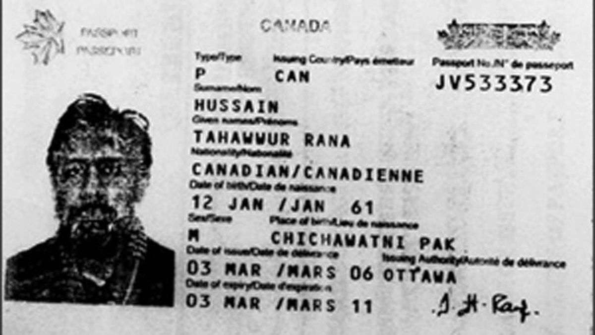 Copy of a passport of Tahawwur Hussain Rana, arrested by the FBI on terror charges.