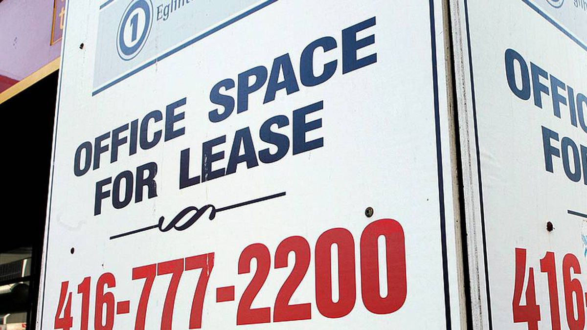 A sign for leasing office space is seen in Toronto