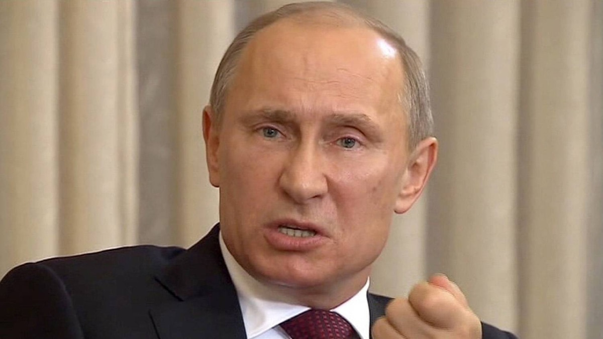 Russian leader Vladimir Putin during a meeting with editors-in-chief of western newspapers
