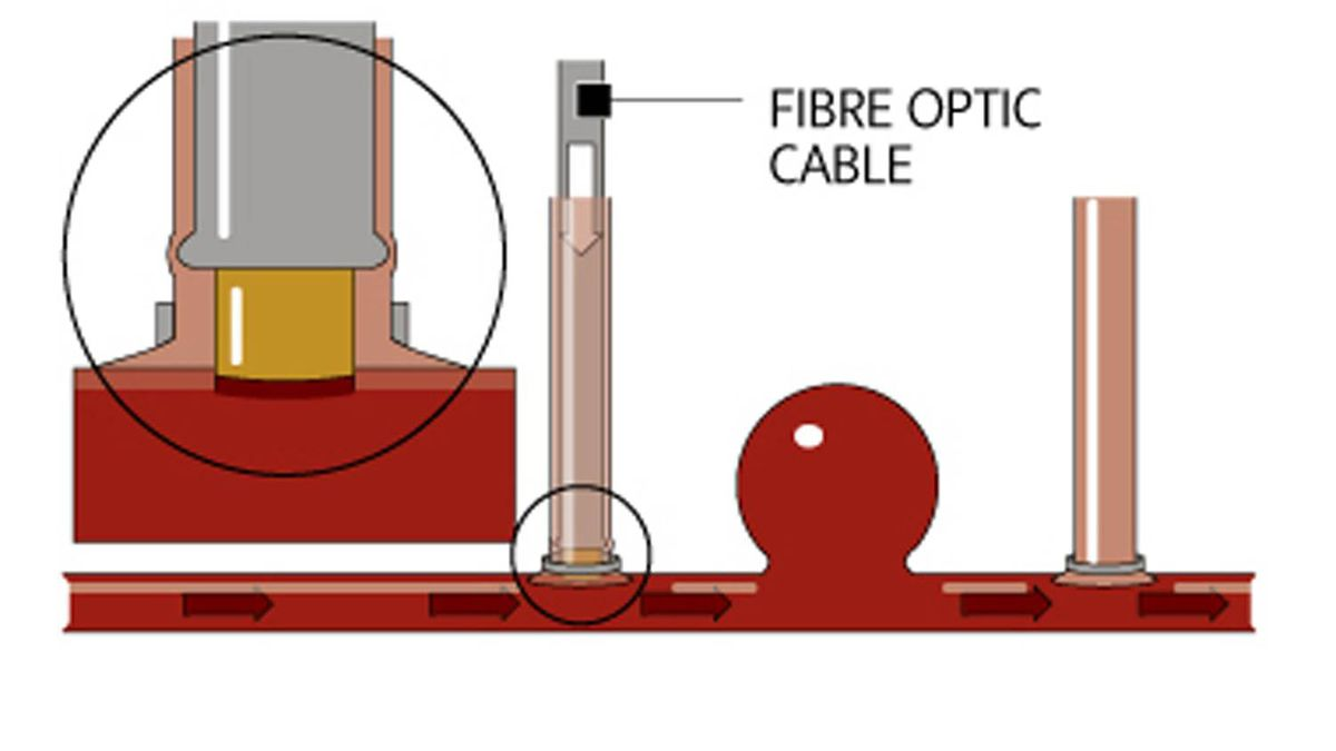 A fiberoptic cable attached to the laser is slid into the vein and cuts a round hole in the wall of the artery. The laser is a large machine that sits next to the patient, but the light and energy are transmitted through the cable.