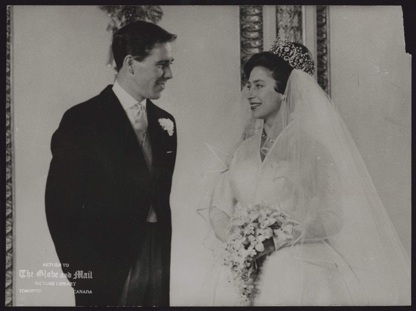 ROYAL FAMILY Gt. Britain Princess Margaret (Wedding) THE BRIDE AND GROOM -- THIS FORMAL PORTRAIT OF PRINCESS MARGARET AND HER BRIDEGROOM, MR. ANTONY ARMSTRONG JONES, WAS MADE IN BUCKINGHAM PALACE, LONDON, TODAY MAY 6, AFTER THEY HAD DRIVEN THERE FROM THEIR WEDDING IN WESTMINSTER ABBEY. LATER THEY LEFT FOR AN ATLANTIC HONEYMOON ON BOARD THE ROYAL YACHT