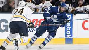 Nazem Kadri of the Toronto Maple Leafs tries to get around Robyn Regehr #24 of the Buffalo Sabres during NHL action at The Air Canada Centre December 22, 2011 in Toronto, Ontario, Canada.