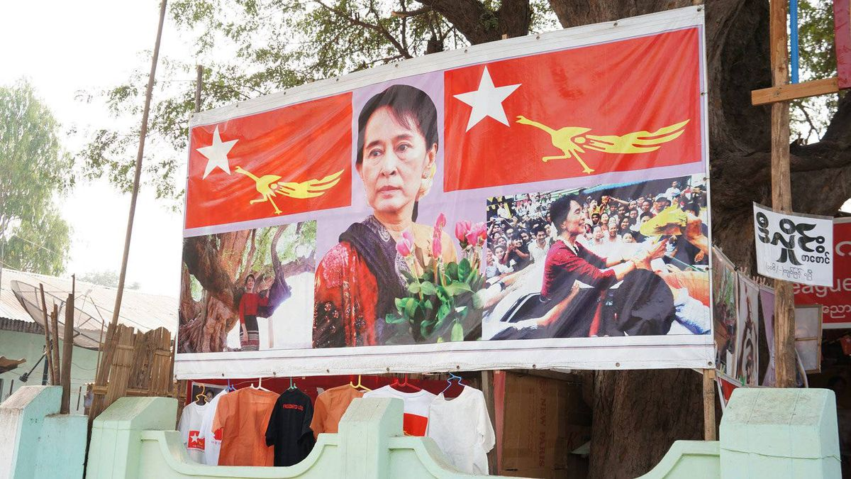 The Nyaung Oo town office of pro-democracy leader Aung San Suu Kyi's National League for Democracy party sells shirts, pins and posters ahead of the April 1 by-election.