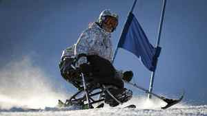 Chelaine McInroy, a 17-year-old from Armstrong, B.C., who was born with spina bifida, races down a slalom course at Whistler on Dec. 11, 2011.