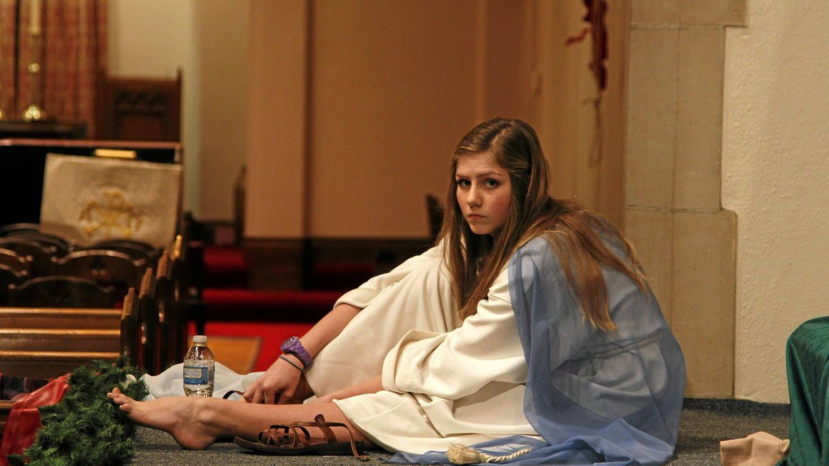 """Carly Turner was the pageant's baby Jesus when she was only a few weeks old. Now 14, she's playing the role of Mary. After years of participating in the pageant, Carly has caught the acting bug. She studies music theatre in school. """"I used to [get stage fright], but not as bad any more,"""" she says."""