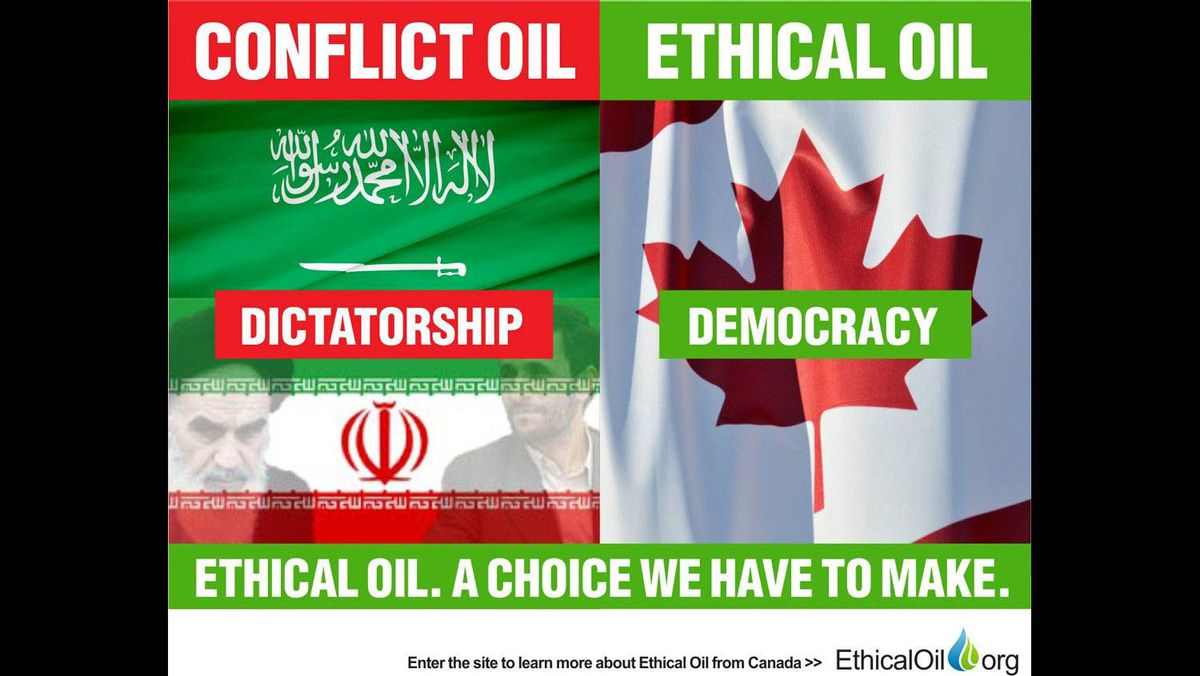The EthicalOil.org site suggests consumers must choose between oil produced by dictatorships or oil produced by democracies. Shown are the flags of Iran, Saudi Arabia, and Canada.