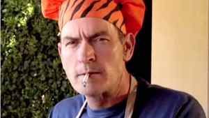 Charlie Sheen smokes a cigarette in a Funny or Die video presents his 'winning recipes' in a mock cooking show