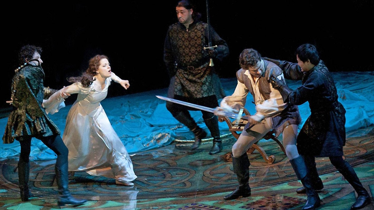 "From left: Mike Nadajewski as Mordred, Kaylee Harwood as Guenevere, Lee Siegel, Jonathan Winsby as Lancelot and Julius Sermonia in ""Camelot."""