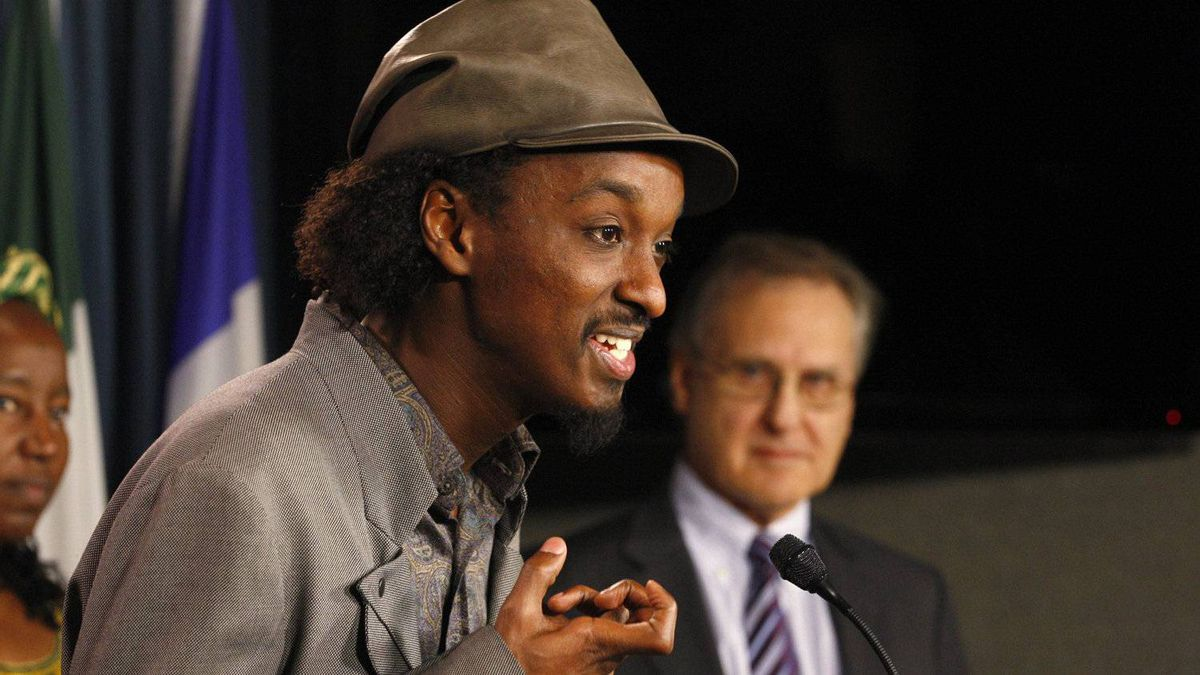 K'naan urges MPs to pass a generic-drugs bill at a press conference in Ottawa on March, 9, 2011.