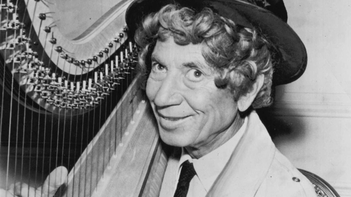 Harpo Marx, the wigged, non-speaking member of the Marx Brothers