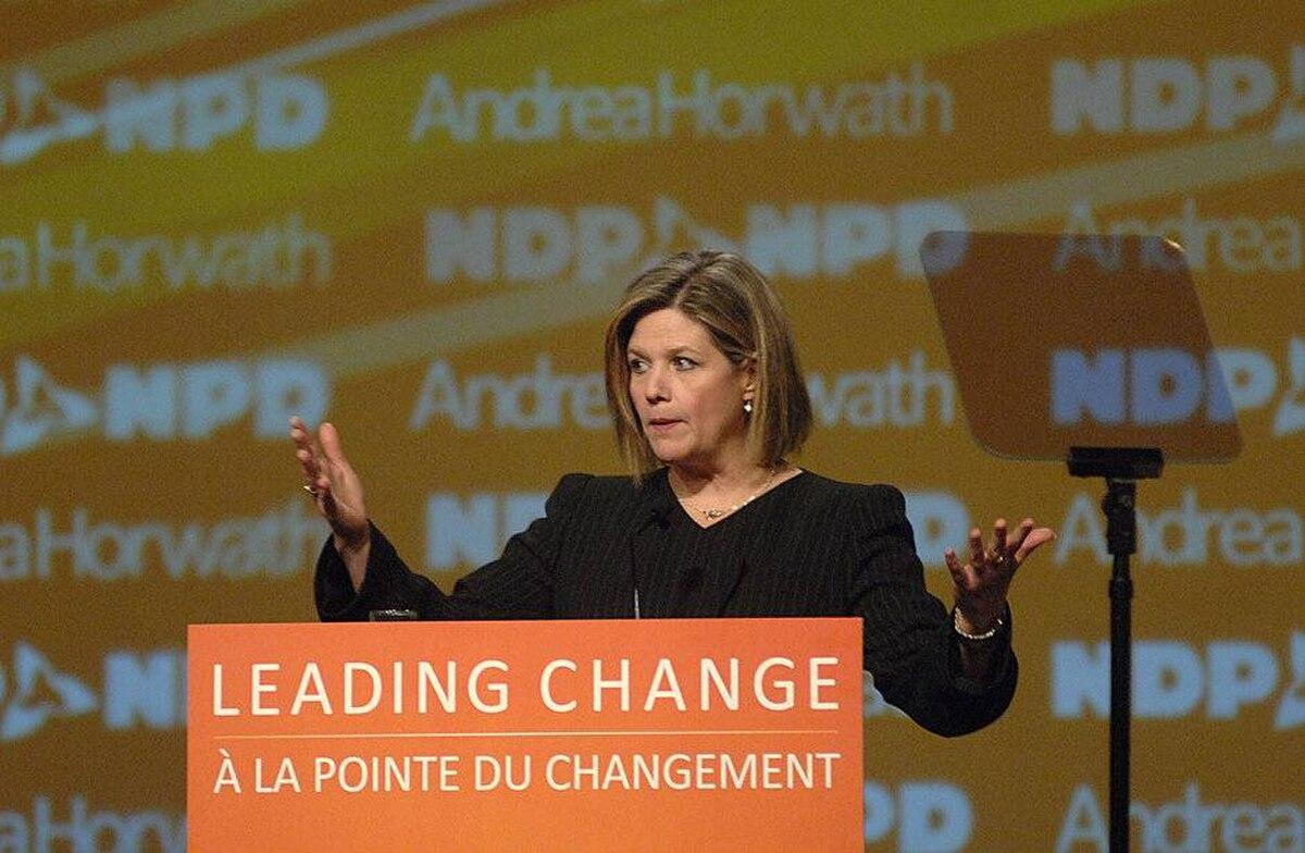 Ontario NDP Leader Andrea Horwath speaks at the Ontario NDP convention at the Hamilton Convention Centre in Hamilton, Ontario, Saturday, April 14, 2012.
