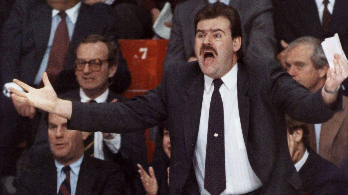 Montreal Canadiens coach Pat Burns reacts to a referee's call during an NHL game in Montreal in January, 1989.