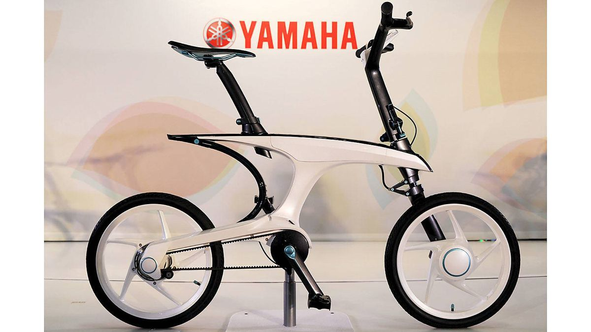 Yamaha Pas With electrical power-assisted bicycle which can easily fold into compact dimensions.