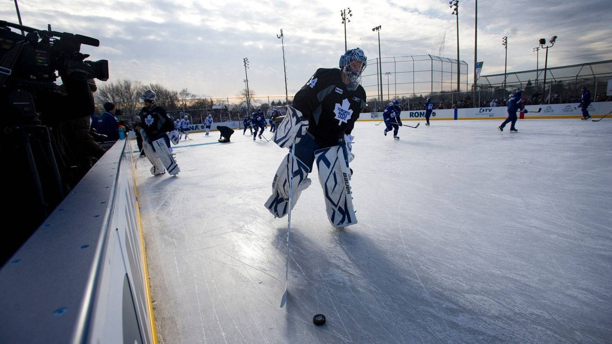 Leafs goalie James Reimer warms up at Sunnydale Acres Rink in Toronto, Ont.