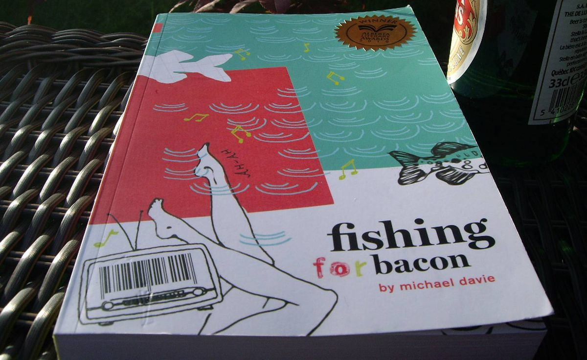 Shantael Sleight sent us this photo of what she's reading: Fishing for Bacon by Michael Davie, recent winner of the $10,000 Alberta Readers Choice Award and the Georges Bugent Award for best novel.