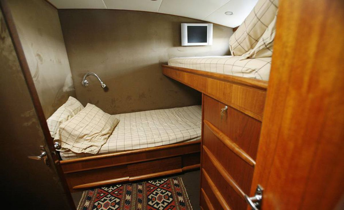 Bernard Madoff's boat, Bull, features three small state rooms with bunk beds, Tuesday, Sept. 8, 2009 rather than a large state room with regular size beds as it waits to be sold at auction in Fort Lauderdale, Fla.