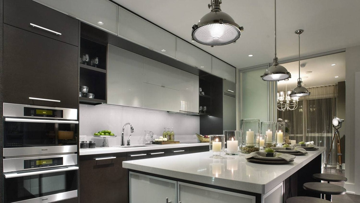 The ecosuite kitchen includes such green touches as countertops crafted from recycled glass.