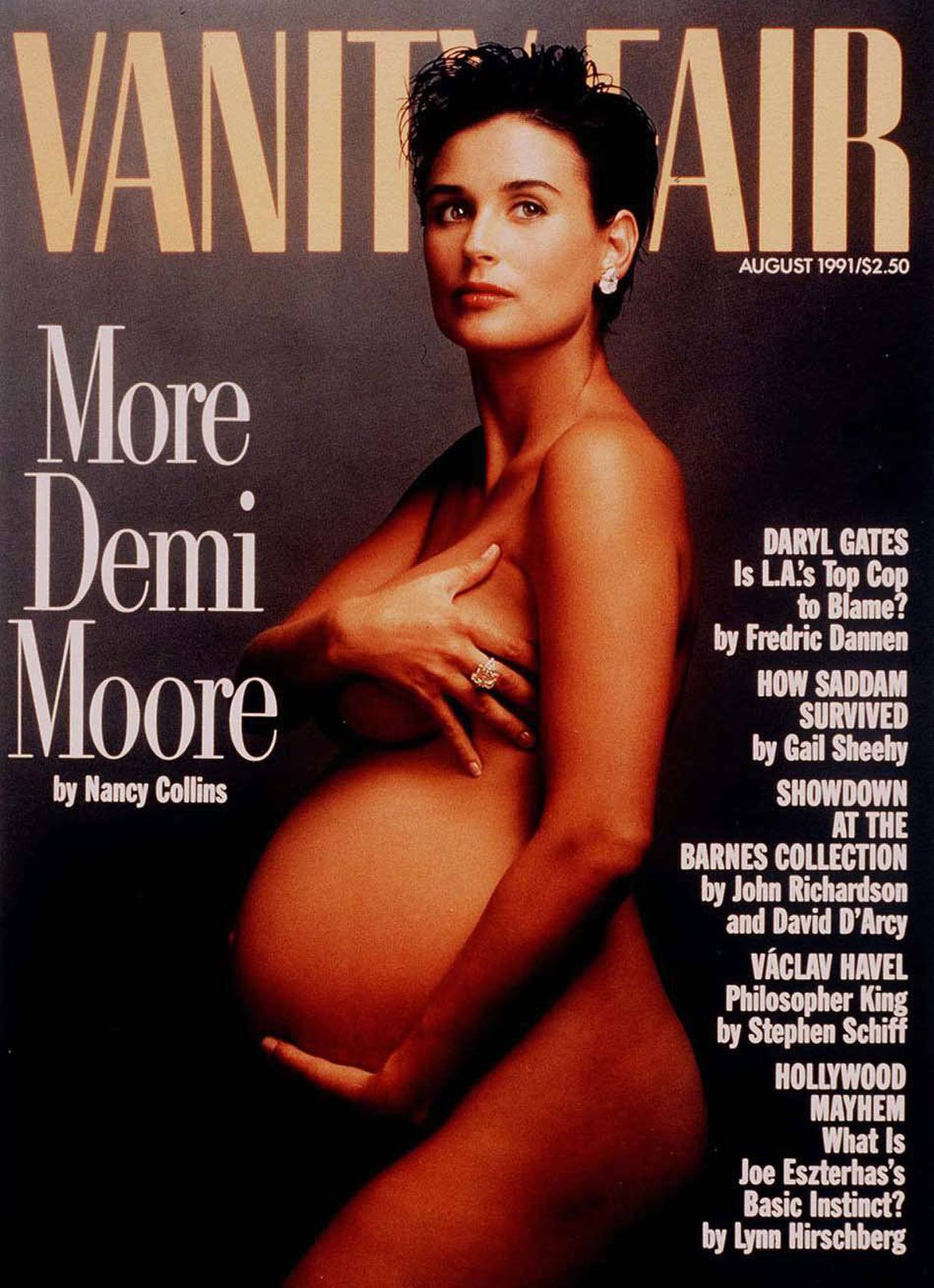 Our brief history begins in 1991, when a 28-year-old Demi Moore appeared naked and pregnant on the cover of the August issue of Vanity Fair. Annie Liebovitz took the infamous photo, editor Tina Brown published it, and modern celebrity gestation was never the same again.