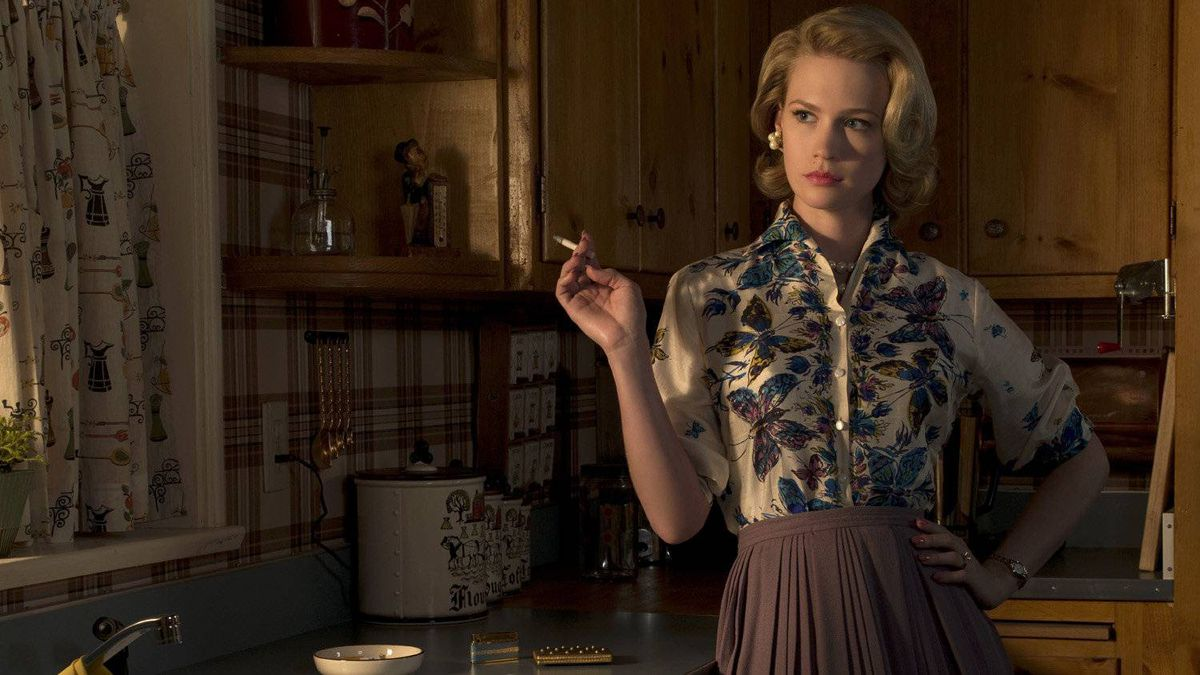 January Jones as Betty Draper in Mad Men: a seething, controlling mother, inspiring not envy but shame.