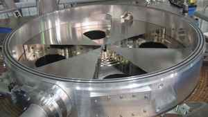 A cyclotron, used in the production of medical isotopes.
