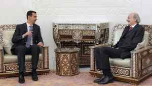 Syrian President Bashar al-Assad, left, meets Lebanese Druze leader Walid Jumblatt in Damascus on March 31, 2010. SANA/REUTERS
