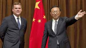 Foreign Affairs Minister John Baird meets the press with his counterpart in Beijing, Yang Jiechi, on July 18, 2011.