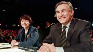 "French Labor Minister Martine Aubry and French Industry and Foreign Trade Minister Dominique Strauss-Kahn take part in the TV broadcast show ""Audition Publique"" on France 2 channel for the legislative election on February 11, 1993, in Paris."