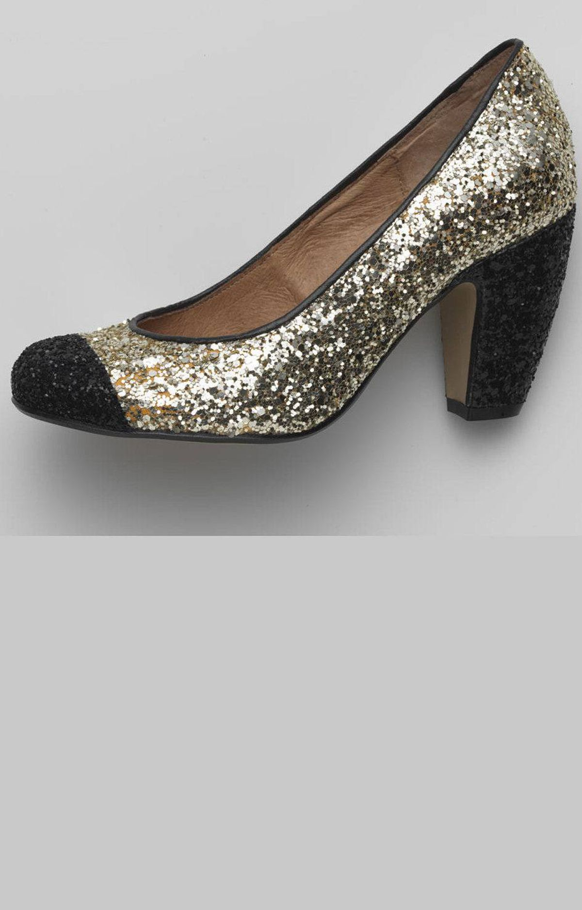 Gold and black glitter heels by Topshop, $100 at the Bay (www.thebay.com)