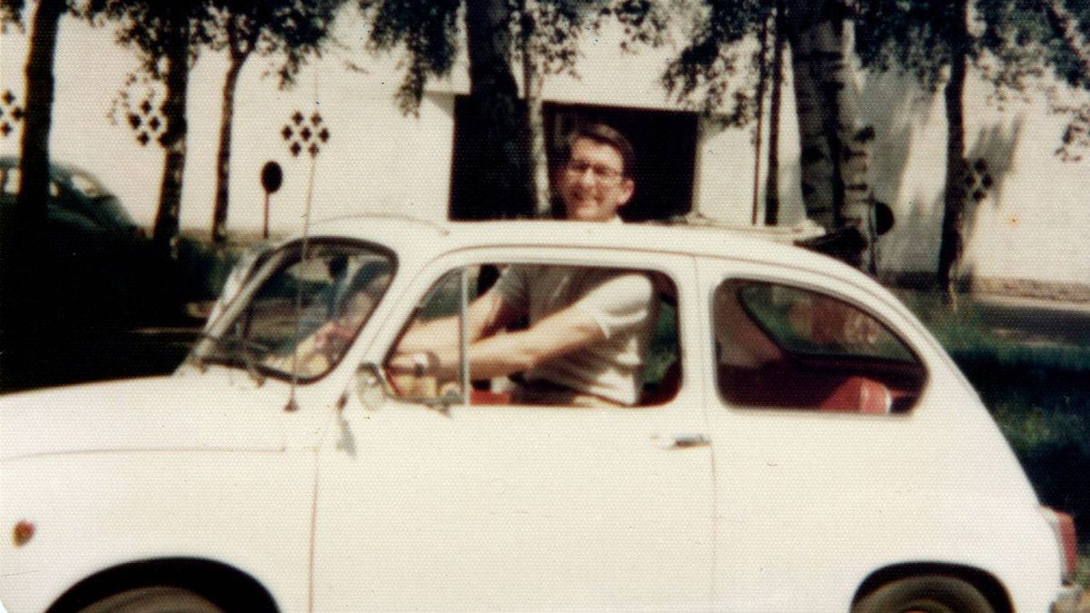 Fiat 600. This was my first car, shown here in Brussels, Belgium with my father, Major Ben Cheney. The 600 had a 29 horsepower and a theoretical top speed of 110 km per hour. Reaching that number took time, skill and a tailwind.