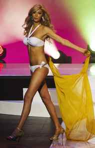 Jenna Talackova takes part in Miss Universe Canada competition while wearing her bikini in Toronto May 17, 2012.