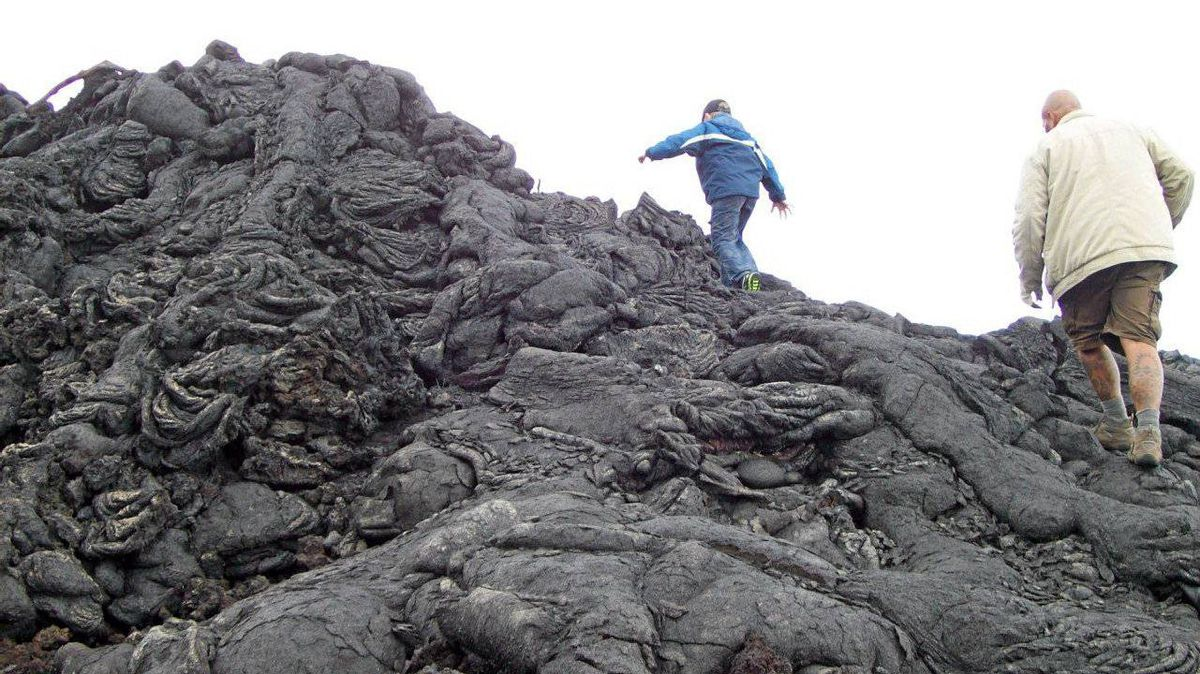 Clambering over the sheet (or pahoehoe) lava is half the fun of exploring the dark landscape.