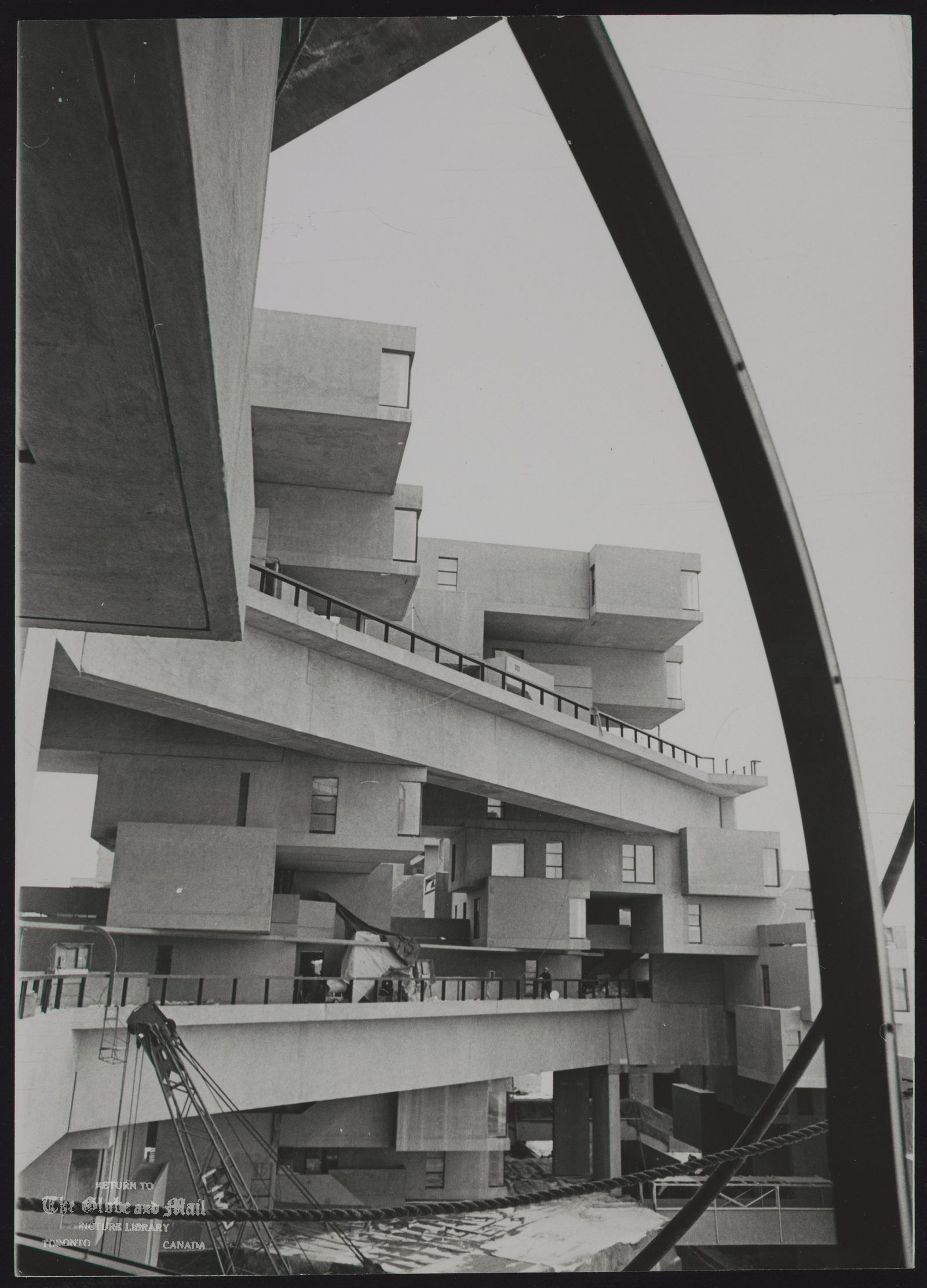 WORLD FAIR, MONTREAL [EXPO 67] How Habitat '67 looks from a window in one of its suites under construction at Expo.