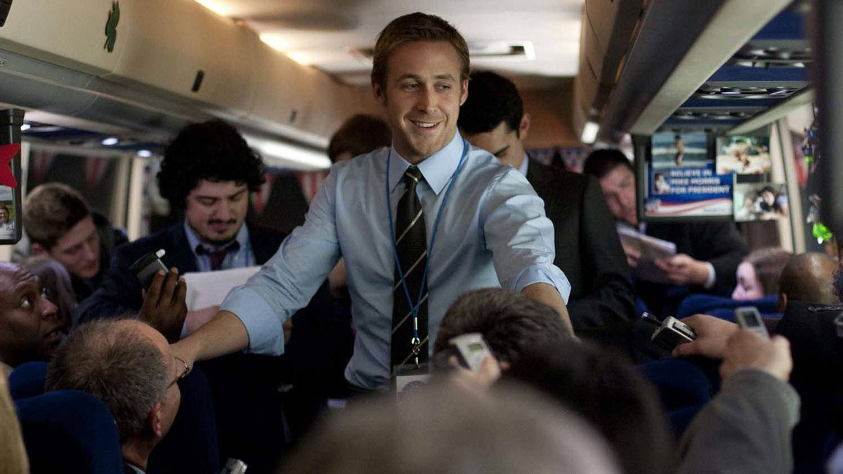 """Ryan Gosling (centre) in a scene from """"The Ides of March"""""""