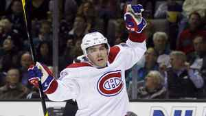 Montreal Canadiens' Michael Cammalleri reacts after scoring a goal against the San Jose Sharks during the first period of their NHL hockey game in San Jose, California December 1, 2011.