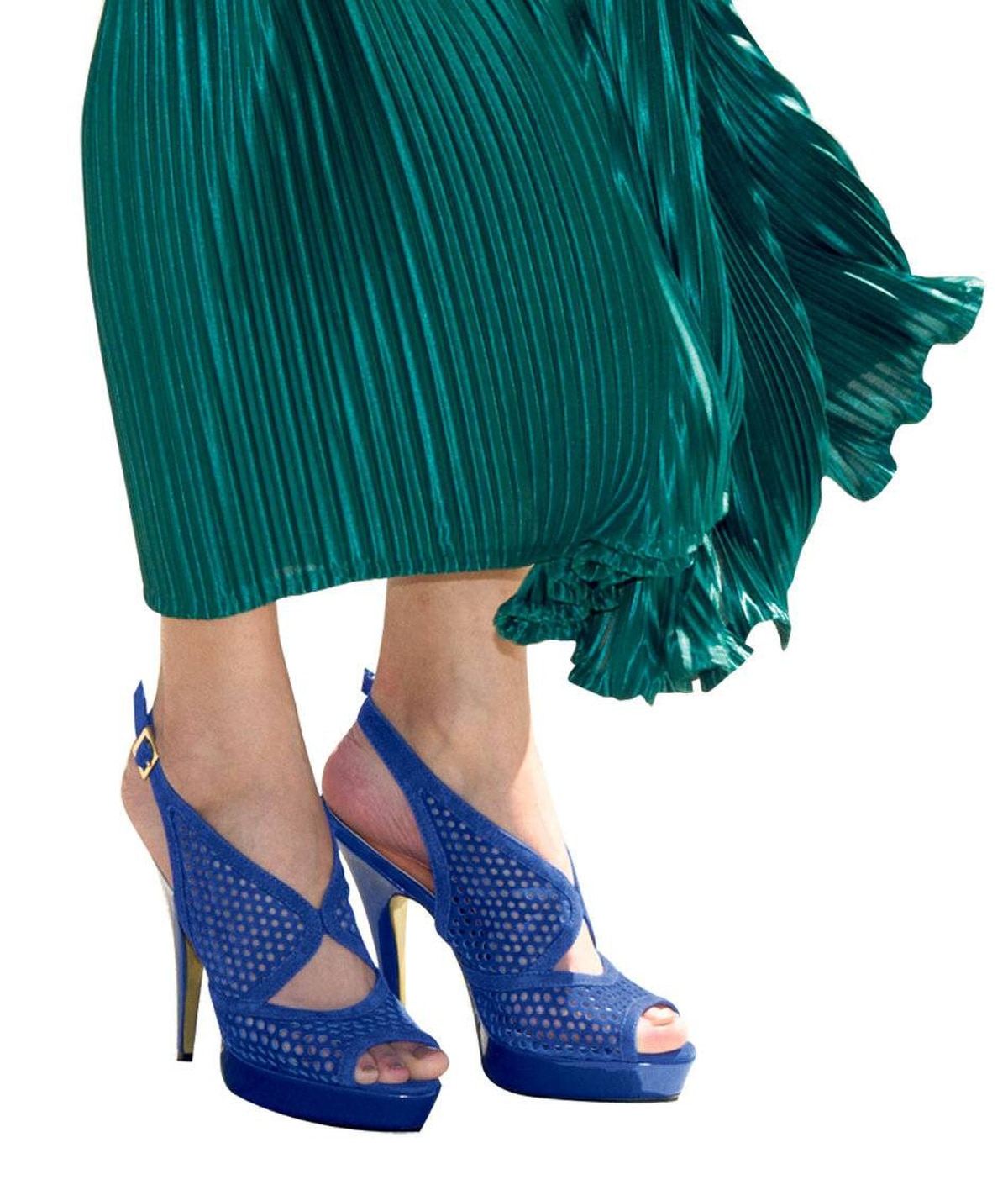 Blue suede mesh keeps feet feeling - and looking - ultracool. David Dixon pumps, $130 at Town Shoes. American Apparel skirt, $68