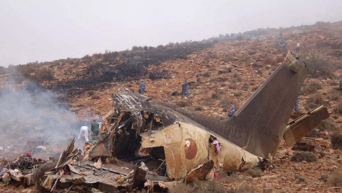 View of the wreckage of a military transport plane after it crashed in Goulmim, southern Morocco on July 26, 2011.