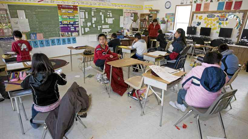 Students on the Fishing Lake Indian Reserve attend class on Wednesday, Jan. 23, 2008, at the Fishing Lake Indian Reserve in Saskatchewan.